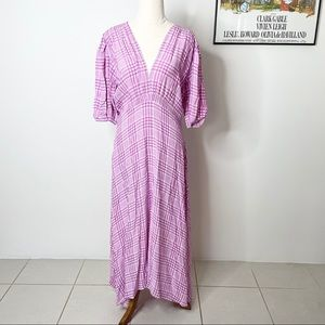 Faithfull The Brand Midi Dress Purple Check